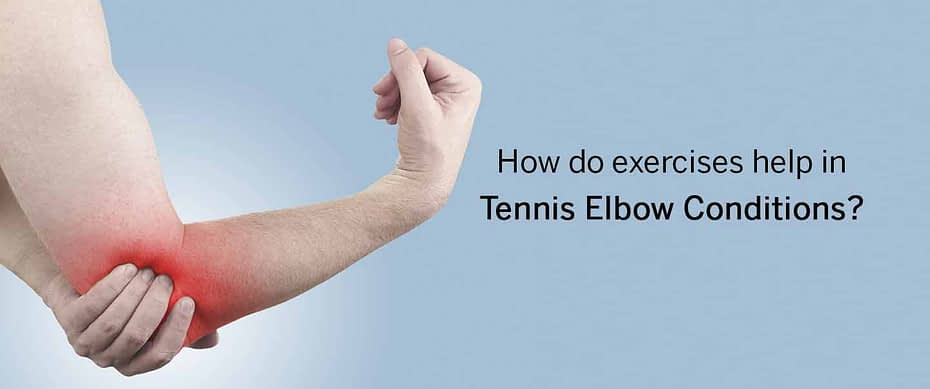 How do exercises help in tennis elbow conditions?